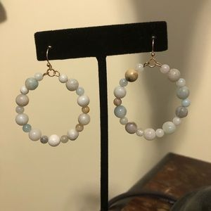 Amazonite circle hoop earrings gemstone
